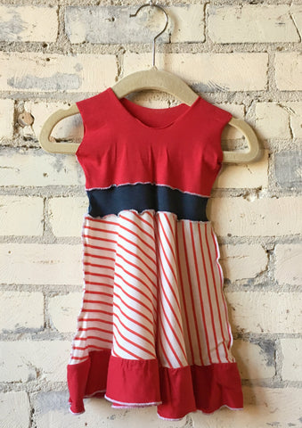 6-18 Month Red & White Stripe Organic Cotton Jersey Baby Dress - Handmade Organic Clothing