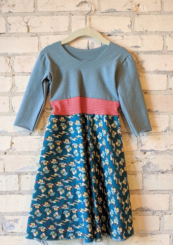3-5 Year Teal Leaf Dress - Handmade Organic Clothing
