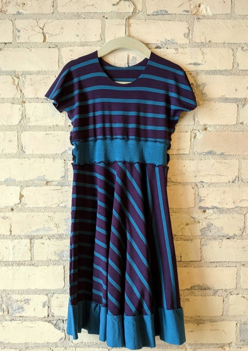 3-5 Year Purple and Blue Stripe Dress with Ruffle - Handmade Organic Clothing