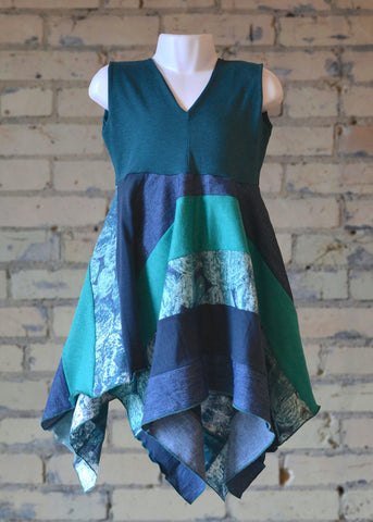 3-5 Year Teal Square Dress - Handmade Organic Clothing
