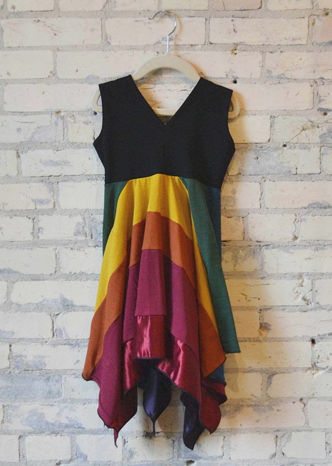 3-5 Year Rainbow Square Dress - Handmade Organic Clothing