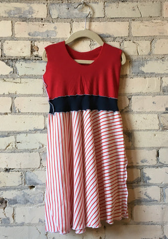 3-5 Year Red & White Striped Organic Cotton Jersey Girls Dress - Handmade Organic Clothing