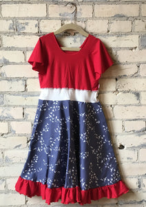 6-8 Year Organic Cotton Red White and Bluebird Girls Dress with Ruffle - Handmade Organic Clothing