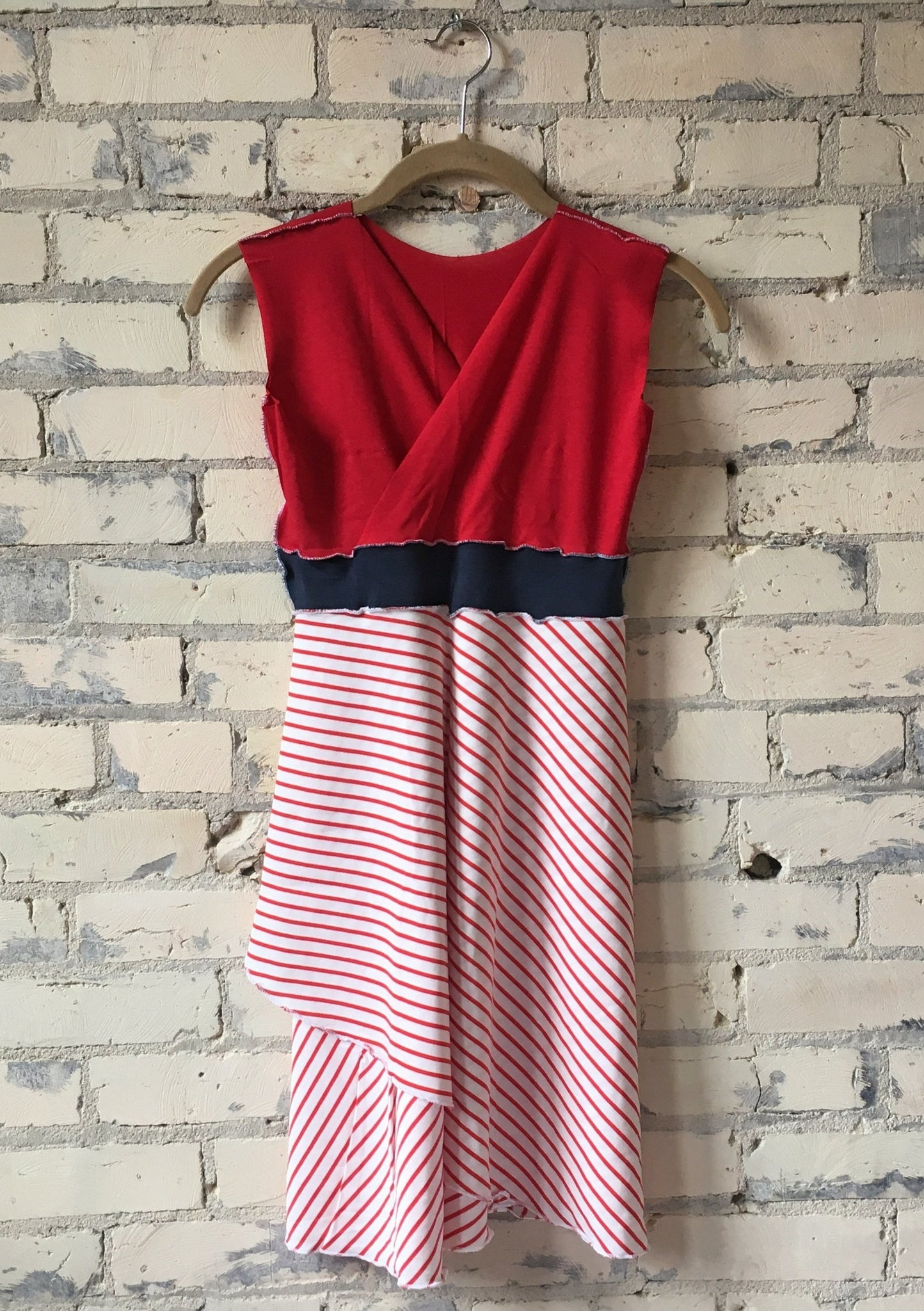 Juniors Red and White Striped Organic Cotton Jersey Dress - Yana Dee