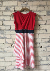 Juniors Red and White Striped Organic Cotton Jersey Dress - Handmade Organic Clothing