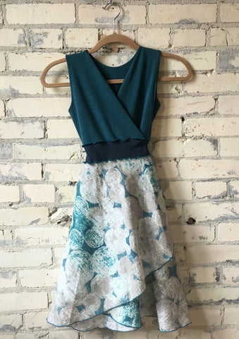 Juniors Teal Marimekko Linen Wrap Dress - Handmade Organic Clothing