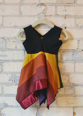 6-18 Month Rainbow Square Dress - Handmade Organic Clothing
