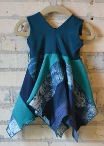 6-18 Month Teal Square Dress - Handmade Organic Clothing