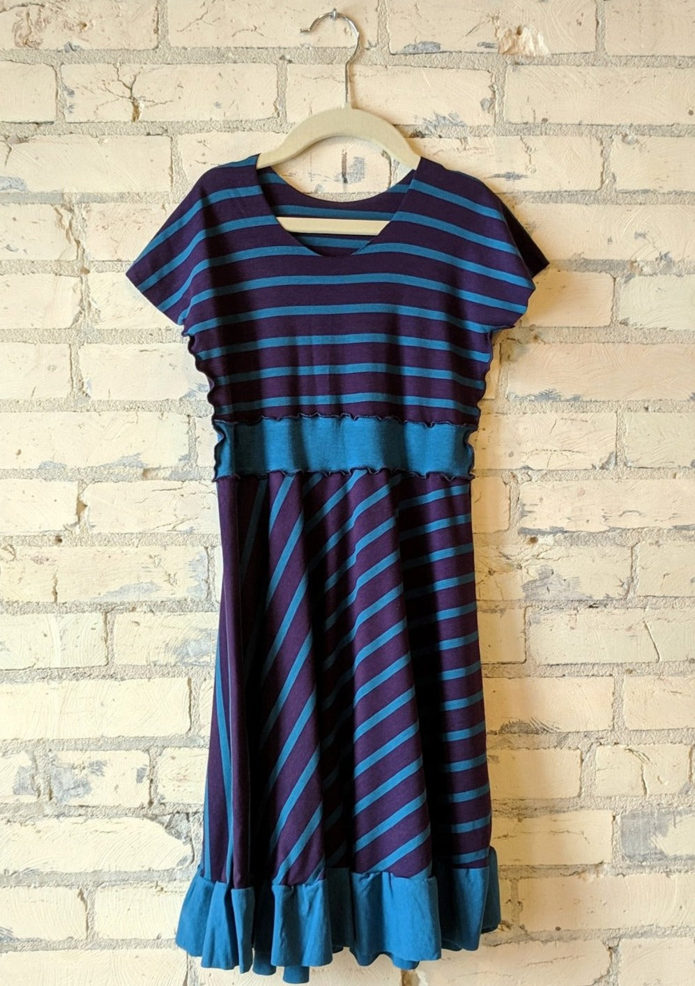 6-8 Year Purple and Blue Stripe Dress with Ruffle - Handmade Organic Clothing