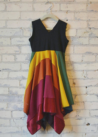 6-8 Year Rainbow Square Dress - Handmade Organic Clothing