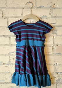 6-18 Month Purple and Blue Stripe Dress with Ruffle - Handmade Organic Clothing