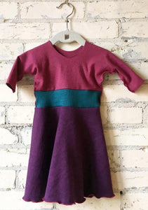 6-18 Month Purple & Pink Hemp Fall Winter Baby Dress - Handmade Organic Clothing