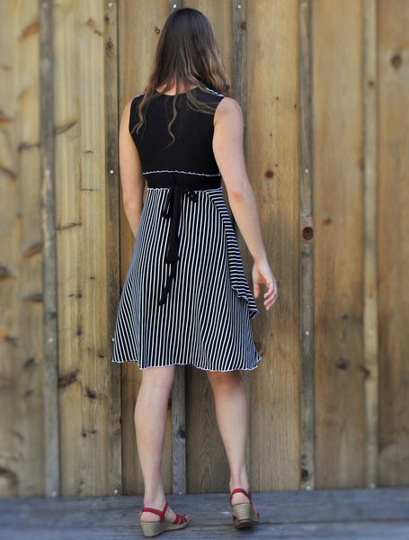Organic Jersey Stripe Midi Wrap Dress - Custom Made - Analise Dress - Handmade Organic Clothing
