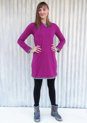 Organic Long Sleeve Hooded Tunic Dress with Stripe Detail - Custom Made - Laurel Tunic - Handmade Organic Clothing