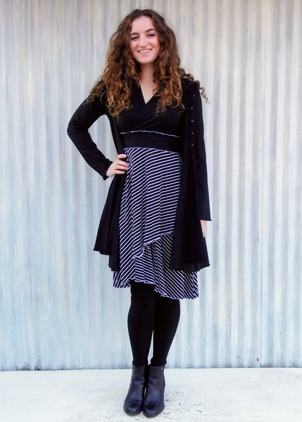 Black & White Araminta Dress (with sleeves) - In Stock - Handmade Organic Clothing