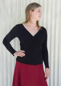 Mock Wrap Nursing Top With Sleeves - Custom Made - Venus Top - Handmade Organic Clothing