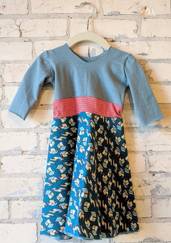 1-2 Year Teal Leaf Dress - Handmade Organic Clothing