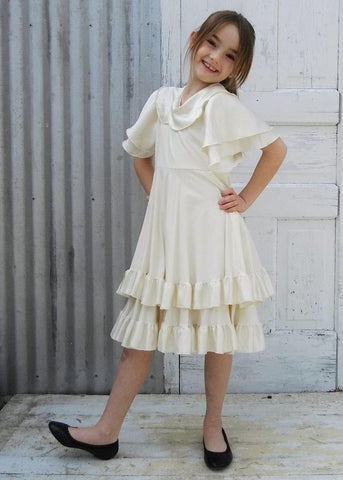 Flower Girl Double Layer Circle Dress with Silk Ruffles - Custom Made Charolette Girls Dress - Yana Dee