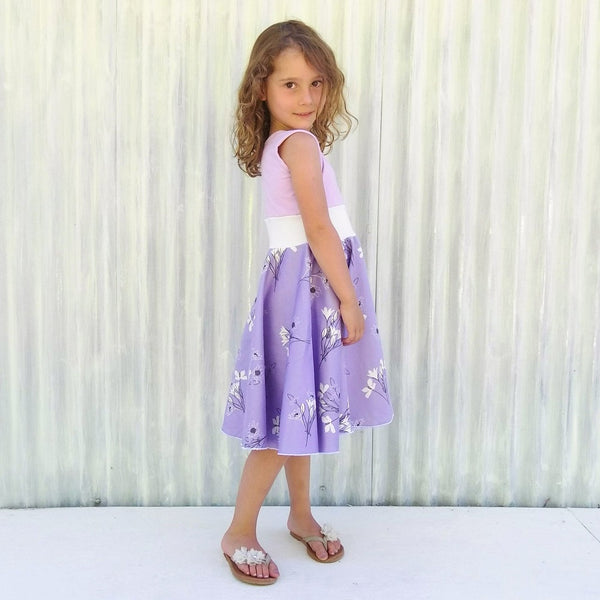 3-5 Year Lovely Lavender Full Circle Skirt Sateen Dress - Yana Dee