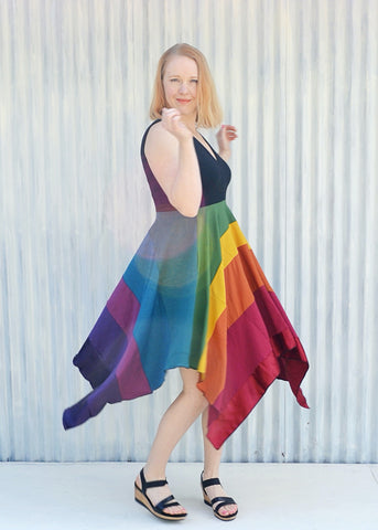 Rainbow Square Dress - Handmade Organic Clothing
