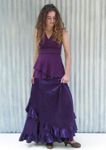 Silk Ruffled Maxi Wrap Skirt - Custom Made - Viola Skirt - Handmade Organic Clothing