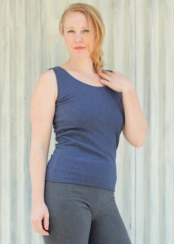 Bamboo and Merino Fleece Aubrey Ski Tank - Sleeveless Base Layer - Custom Made - Handmade Organic Clothing