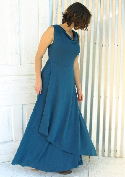 Hemp Drape Neck Maxi Dress - Custom Made - Florenzia Dress - Handmade Organic Clothing