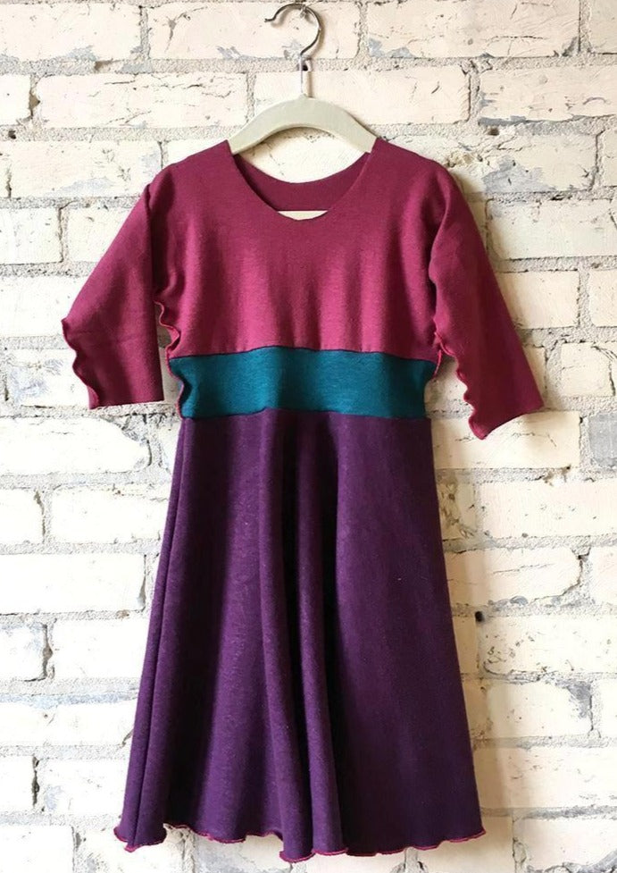3-5 Year Purple & Pink Hemp Fall Winter Girls Dress - Handmade Organic Clothing