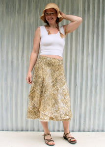 Tea Length Linen Wrap Skirt