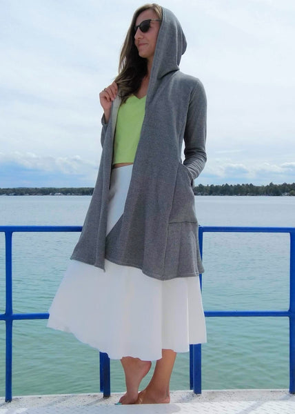 Organic French Terry Hooded Cardigan - Ready to Ship - Alexandra Pocket Duster