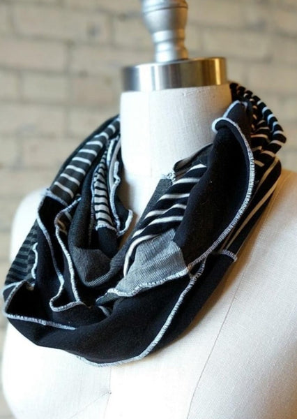 Black and White Infinity Scarf - Organic Lightweight Scarf - Yana Dee