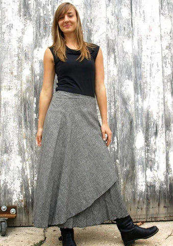Denim Maxi Wrap Skirt - Custom Made - Idaho Skirt - Yana Dee