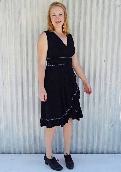 Organic Ruffle Midi Wrap Dress - Custom Jasper Dress - Handmade Organic Clothing