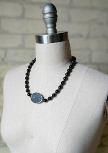 Jet Black Centerpiece Beaded Necklace - Handmade Organic Clothing