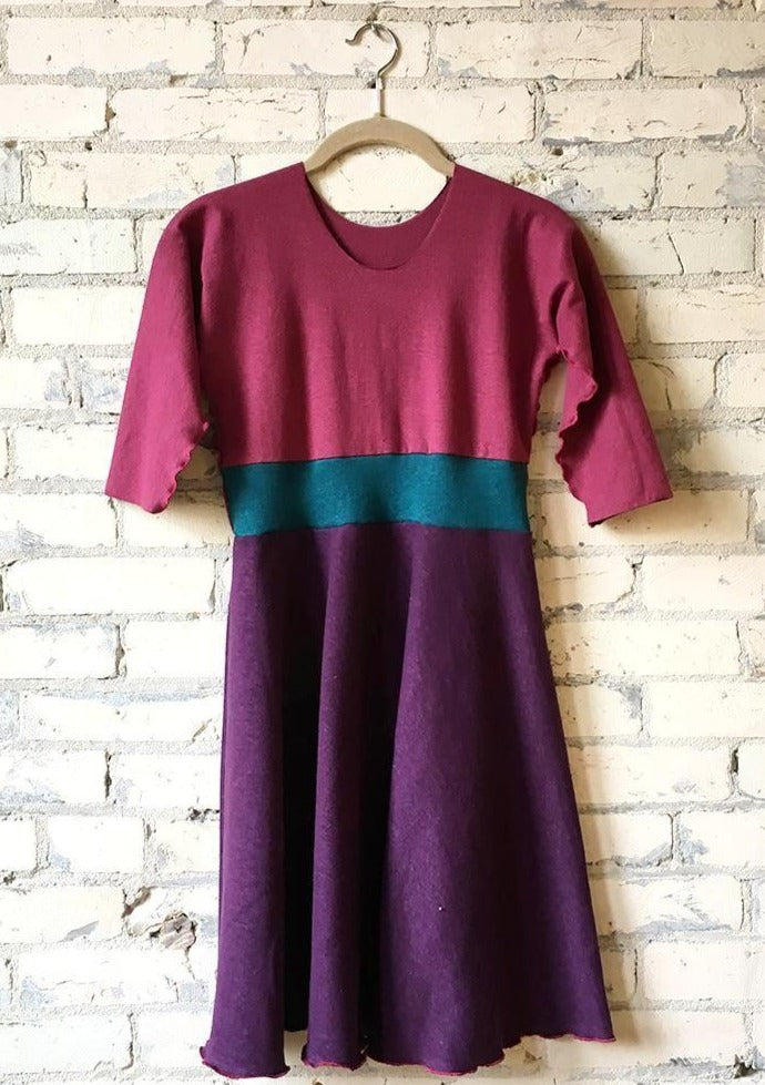 Juniors Purple & Pink Hemp Fall Winter Girls Dress - Handmade Organic Clothing