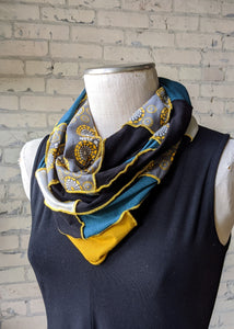 Lightweight Kaleidoscope Infinity Scarf with Teal & Yellow