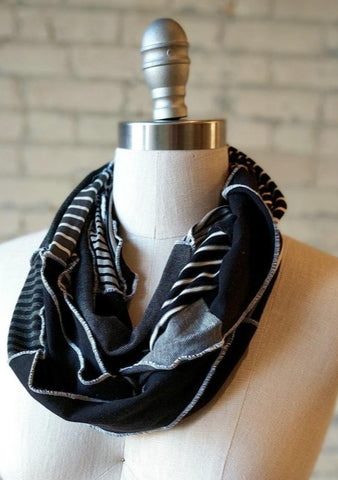 Black and White Lightweight Infinity Scarf - Handmade Organic Clothing