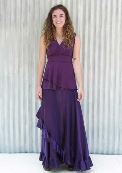 Silk Ruffled Maxi Wrap Skirt - Custom Made - Viola Skirt - Yana Dee