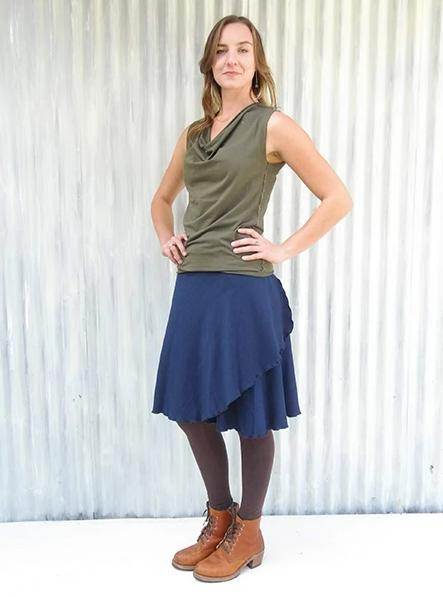Bamboo Fleece Midi Wrap Skirt - Ready to Ship - Ginger Skirt - Handmade Organic Clothing