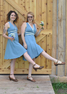 Two Toned Mid Length Infinity Dress - Custom Made - Handmade Organic Clothing