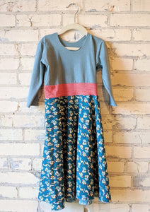 6-8 Year Teal Leaf Dress - Handmade Organic Clothing