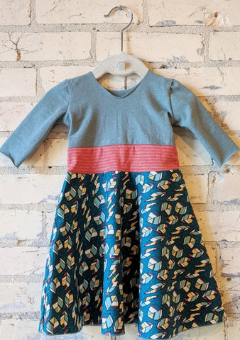 6-18 Month Teal Leaf Dress - Handmade Organic Clothing