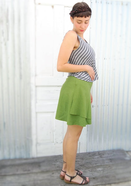 Mini Hemp Wrap Skirt - Custom Made Prim Skirt - Handmade Organic Clothing