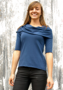 Organic 3/4 Sleeve Top with Oversize Cowl Neck - Custom Made - Utah Top