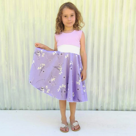 3-5 Year Lovely Lavender Full Circle Skirt Sateen Dress - Handmade Organic Clothing