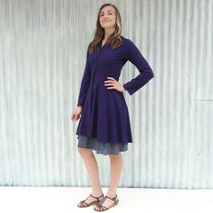 Custom Made Organic Cotton French Terry Dress Coat in Purple