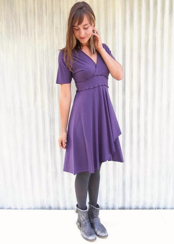 Organic Cap Sleeve Double-V Midi Dress - Custom Made - Austin Dress - Handmade Organic Clothing