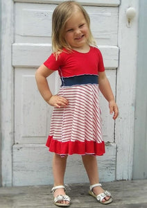 1-2 Year Cherry Stripe Organic Jersey Dress - Handmade Organic Clothing