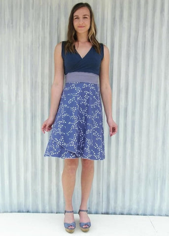 Organic Cotton Sleeveless Blue Bunting Wrap Dress - Chickadee Dress - Yana Dee