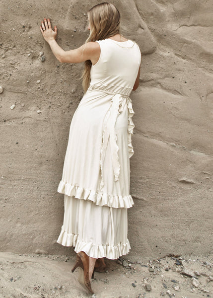 Organic Wrap Wedding Dress with Silk Ruffle - Custom Made - June Dress